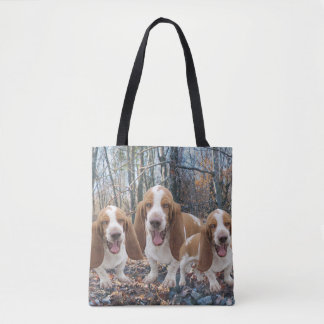Laughing Basset Hounds Tote Bag