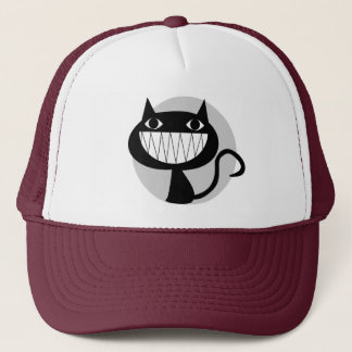 LAUGHING BLACK CAT TRUCKER HAT