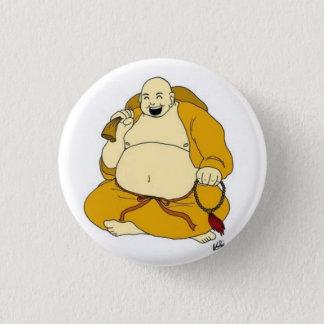 laughing buddha 3 cm round badge