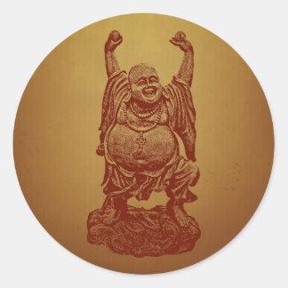 Laughing Buddha (dark red) Round Stickers
