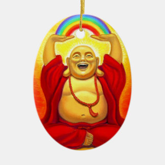 Laughing Buddha Oval Christmas Ornament
