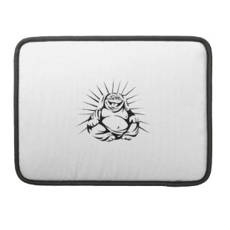 Laughing Bulldog Buddha Sitting Black and White MacBook Pro Sleeve