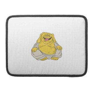 Laughing Bulldog Buddha Sitting Cartoon Sleeve For MacBooks