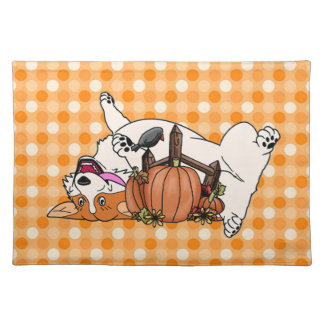 Laughing Corgi with Pumpkin Placemat