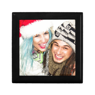 Laughing couple small square gift box