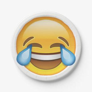 Laughing Crying Tears of Joy emoji Paper Plate