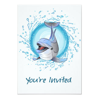 Laughing Dolphin in Splash Circle You're Invited Card