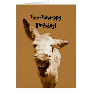 Laughing Donkey Birthday Wishes Card