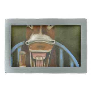 Laughing Donkey Rectangular Belt Buckle