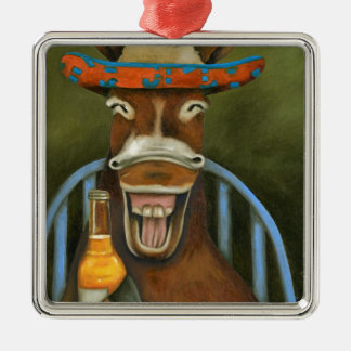 Laughing Donkey Silver-Colored Square Decoration
