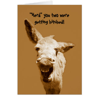 Laughing Donkey Wedding Wishes Card