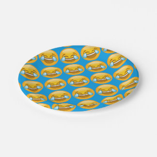 Laughing Emoji (blue background) 7 Inch Paper Plate