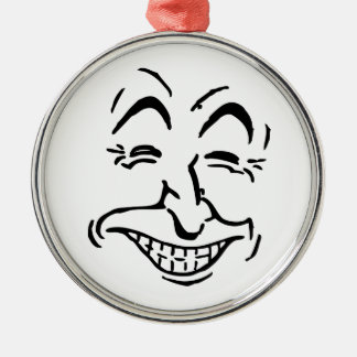 Laughing Face Silver-Colored Round Decoration