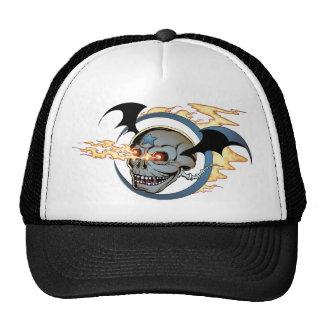 Laughing Flaming Eyeballs Skull with Bat Wings Trucker Hat