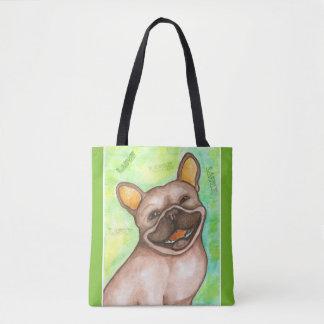 Laughing French Bulldog green tote