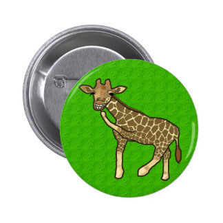 Laughing Giraffe Button 2 Inch Round Button