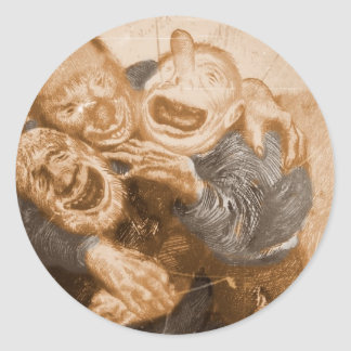 Laughing Grandfather Trolls Round Sticker