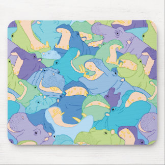 Laughing Hippos - cool colours Mouse Pad