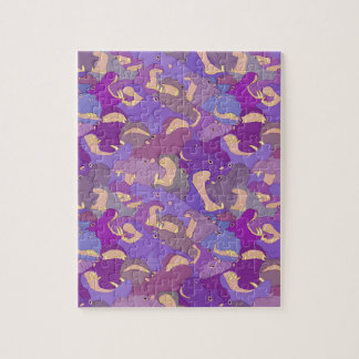 Laughing Hippos - purple Jigsaw Puzzle
