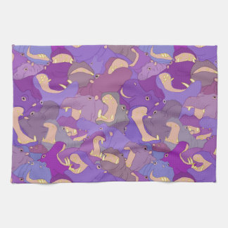 Laughing Hippos - purple Tea Towel