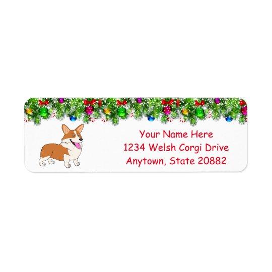 Laughing Holiday Welsh Corgi Return Address Label