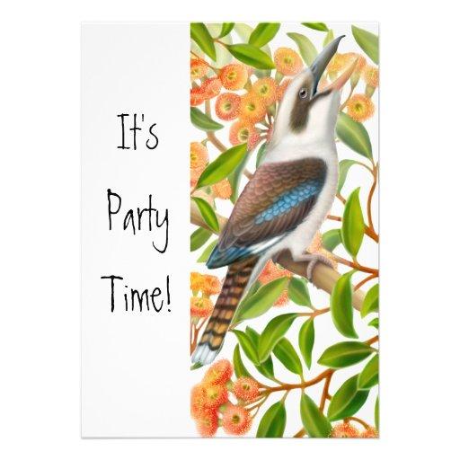 Laughing Kookaburra in Gum Tree Invitation