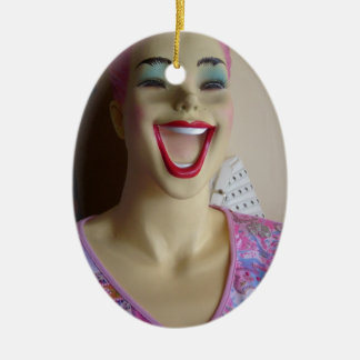 laughing mannequin ceramic oval decoration
