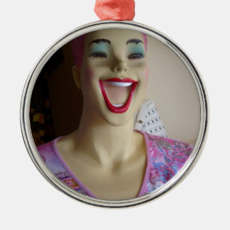 laughing mannequin metal ornament