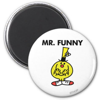 Laughing Mr. Funny With Flower 6 Cm Round Magnet
