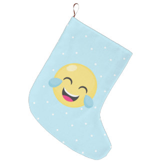 Laughing Out Loud Emoji Dots Large Christmas Stocking