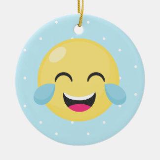 Laughing Out Loud Emoji Dots Round Ceramic Decoration