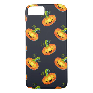 Laughing pumpkin faces pattern v2 iPhone 7 case