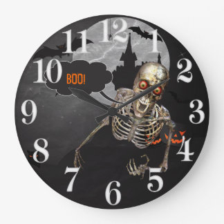 Laughing Skeleton Halloween Custom Message Large Clock