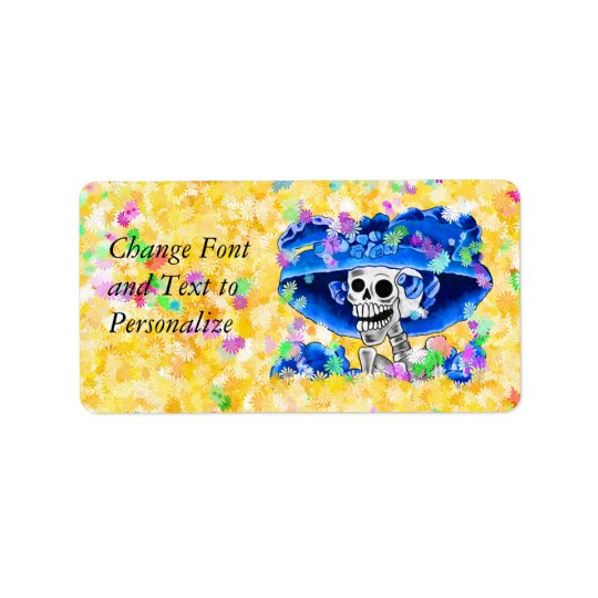 Laughing Skeleton Woman in Blue Bonnet Label