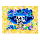 Laughing Skeleton Woman in Blue Bonnet on Yellow Post Card