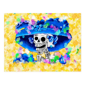 Laughing Skeleton Woman in Blue Bonnet on Yellow Postcard