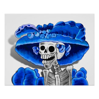 Laughing Skeleton Woman in Blue Bonnet Poster
