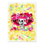 Laughing Skeleton Woman in Red Bonnet 13 Cm X 18 Cm Invitation Card