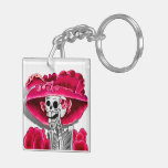 Laughing Skeleton Woman in Red Bonnet Key Chain