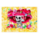 Laughing Skeleton Woman in Red Bonnet Pack Of Chubby Business Cards