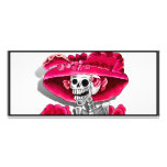 Laughing Skeleton Woman in Red Bonnet Full Colour Rack Card