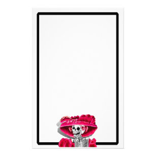 Laughing Skeleton Woman in Red Bonnet Stationery