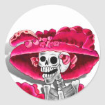 Laughing Skeleton Woman in Red Bonnet Round Sticker