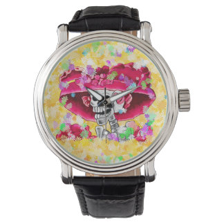 Laughing Skeleton Woman in Red Bonnet Wrist Watches