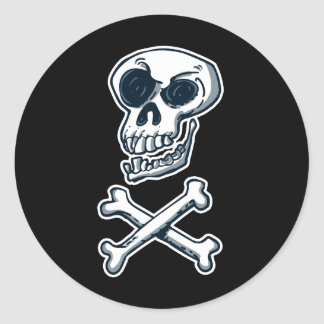 laughing skull and bones cartoon style classic round sticker