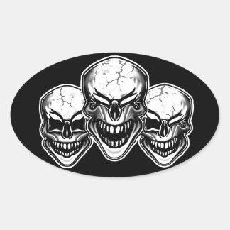 Laughing Skulls Oval Sticker