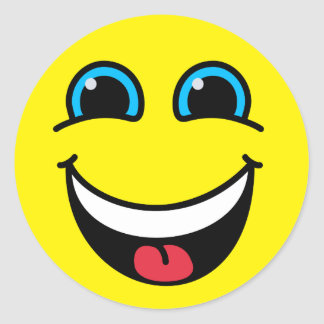 Laughing Smiley Face Yellow Classic Round Sticker