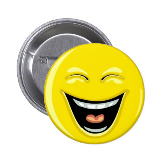 Laughing smilie face 6 cm round badge