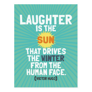 'Laughter is the sun' inspirational quote postcard