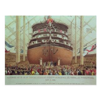 Launch of H.M.S. Royal Albert, Screw Steamer Postcard
